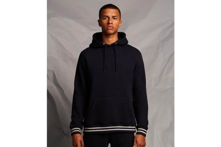 Front Row Unisex Adults Striped Cuff Hoodie (Navy/Heather Grey) (L)