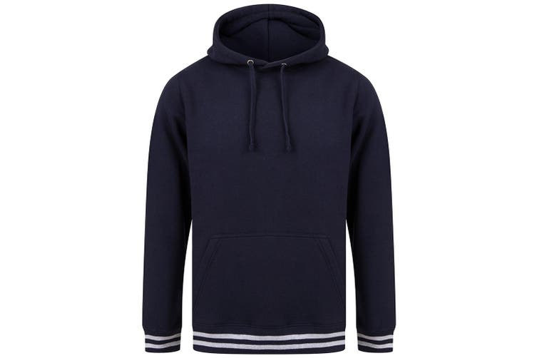 Front Row Unisex Adults Striped Cuff Hoodie (Navy/Heather Grey) (S)