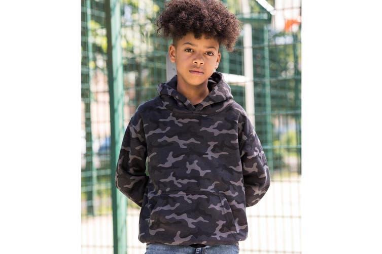 AWDis Childrens/Kids Camo Hoodie (Black Camo) (7-8 Years)