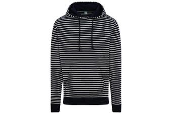 AWDis Unisex Adults Nautical Striped Hoodie (Navy) (XL)