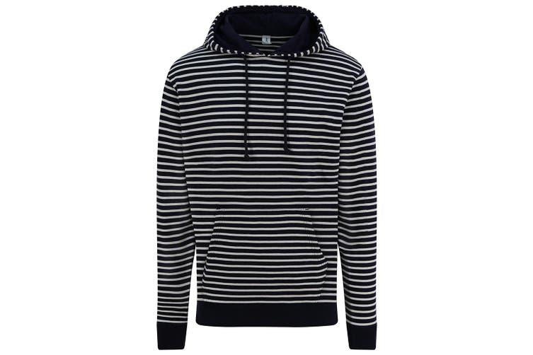 AWDis Unisex Adults Nautical Striped Hoodie (Navy) (XS)