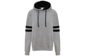 AWDis Unisex Adults Game Day Hoodie (Heather Grey/Deep Black) (XS)