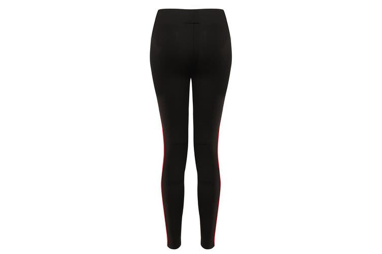 Finden and Hales Ladies/Womens Contrast Team Leggings (Black/Red) (XS)