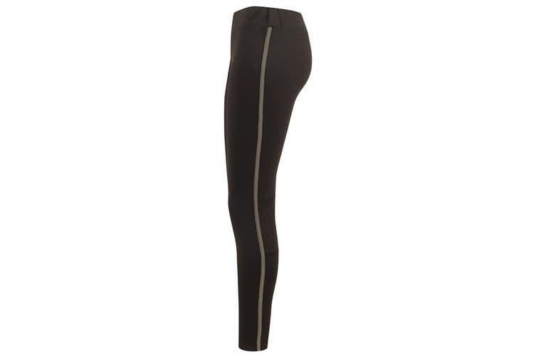 Finden and Hales Ladies/Womens Contrast Team Leggings (Black/Gunmetal) (XXL)
