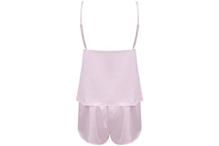 Towel City Ladies/Womens Satin Cami Short PJs (Light Pink) (XS/S)