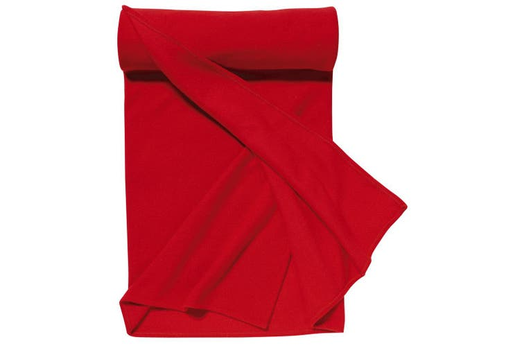 SOLS Plaid Pill Resistant Fleece Blanket (Red) (ONE)