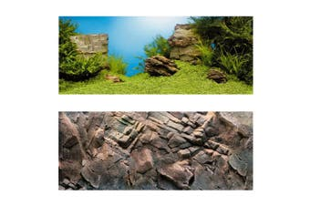 Juwel Aquarium Double Sided Poster Background (Underwater Landscape/Dark Rock) (XL)