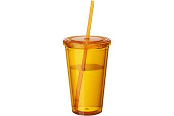 Bullet Cyclone Insulated Tumbler And Straw (Transparent Orange) (15.5 x 10 cm)