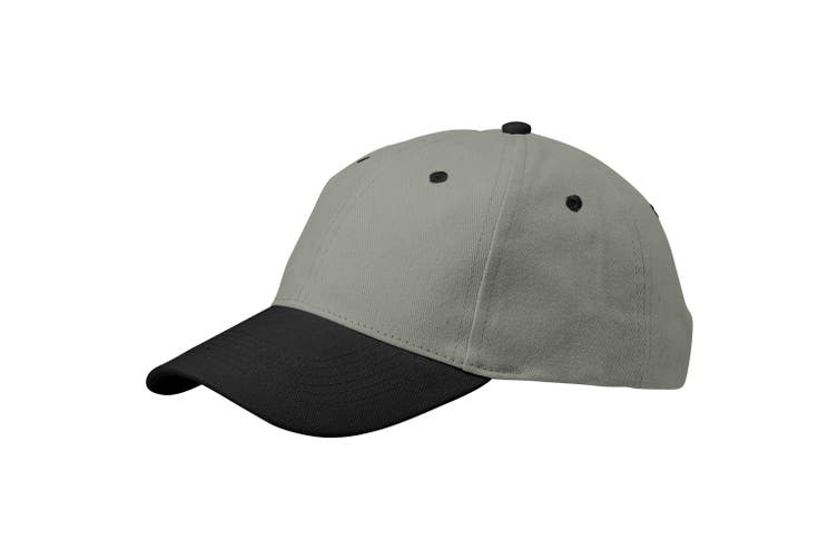 Slazenger Grip 6 Panel Cap (Grey/Solid Black) (26.5 x 18 x 13 cm)