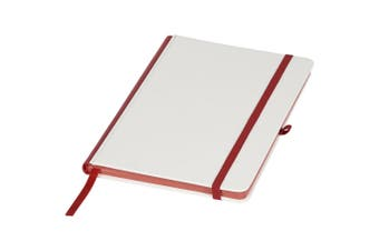 Journal Books Notebook With Coloured Spine (White/Red) (One Size)