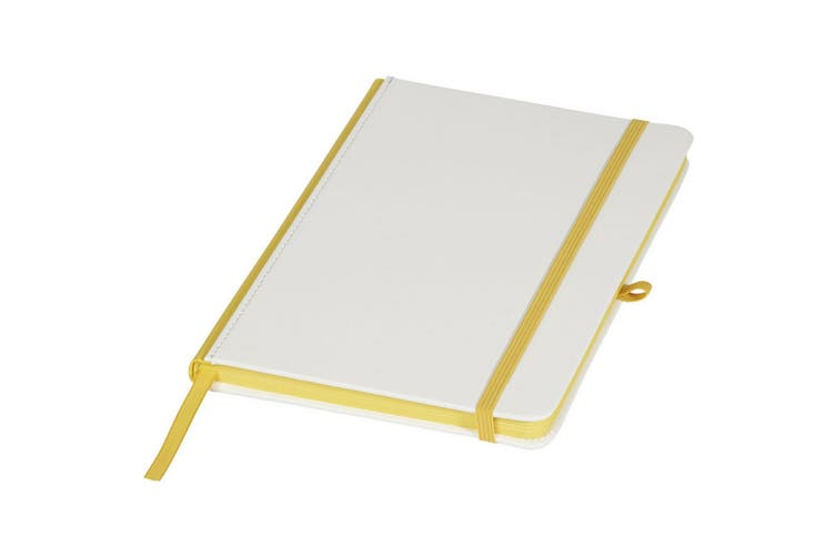 Journal Books Notebook With Coloured Spine (White/Yellow) (One Size)