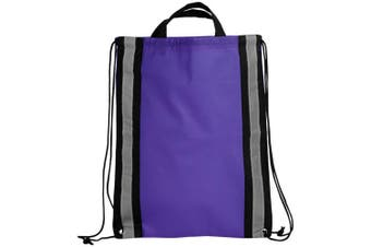 Bullet Reflective Non Woven Drawstring Backpack (Purple) (One Size)
