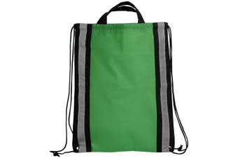 Bullet Reflective Non Woven Drawstring Backpack (Green) (One Size)