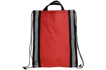Bullet Reflective Non Woven Drawstring Backpack (Red) (One Size)