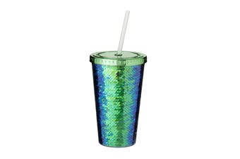 Bullet Festus 470 ml Sequin Acrylic Tumbler (Green) (One Size)