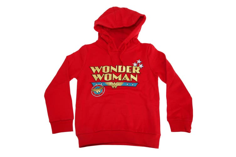 Wonder Woman Childrens Girls Logo Hoodie (Red) (11-12 Years)