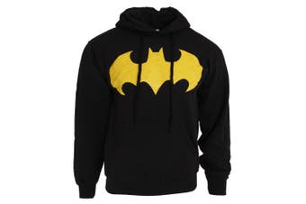 Batman Mens Bat Sign Logo Hoodie (Black)