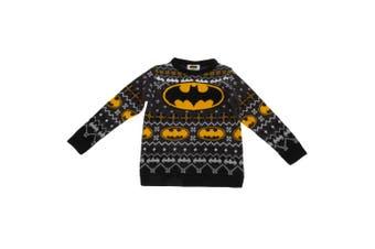 Batman Childrens/Kids Unisex Official Bat Logo Patterned Christmas Jumper (Grey) (14-15 Years)