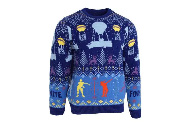 Fortnite Unisex Adults Flossing Around The Christmas Tree Knitted Jumper (Blue) (S)