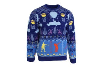 Fortnite Unisex Adults Flossing Around The Christmas Tree Knitted Jumper (Blue) (2XL)