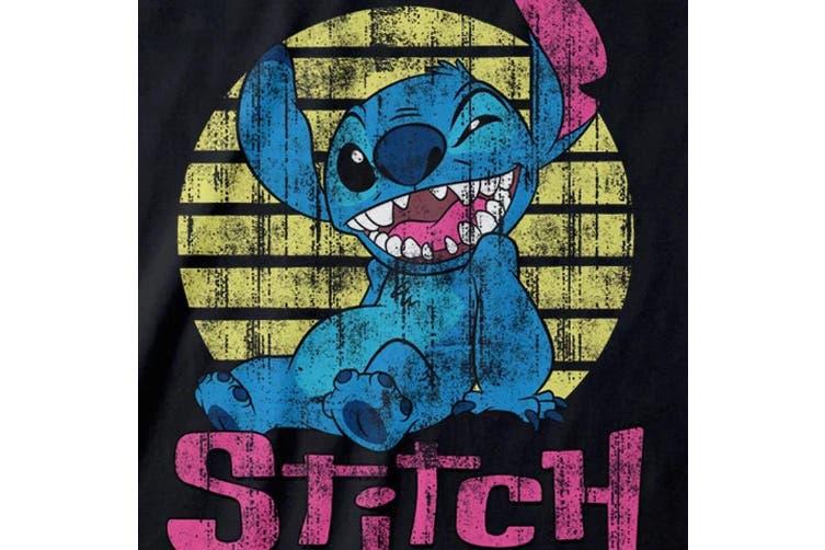 Lilo & Stitch Mens Vintage T-Shirt (Black) (XXL)