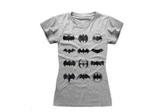 Batman Womens/Ladies Logos T-Shirt (Grey) (L)