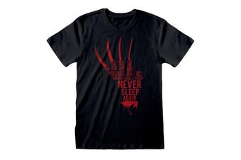 A Nightmare On Elm Street Unisex Adults Glove Text T-Shirt (Black) - UTPG236
