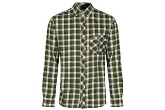 Regatta Great Outdoors Mens Lazka Long Sleeve Checked Shirt (Bayleaf) (S)