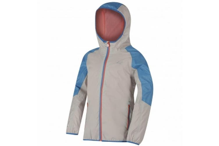 Regatta Great Outdoors Childrens/Kids Teega Reflective Waterproof Hooded Jacket (Platinum/Pluto) (3-4 Years)