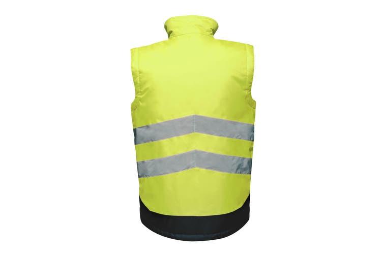 Regatta Professional Mens Hi Vis Pro Body Warmer (Yellow/Navy) (XXL)