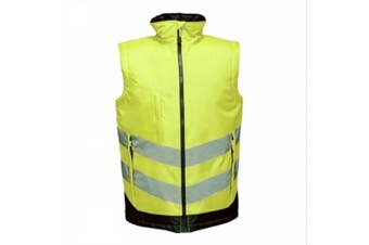 Regatta Professional Mens Hi Vis Pro Body Warmer (Yellow/Navy) (XXXL)