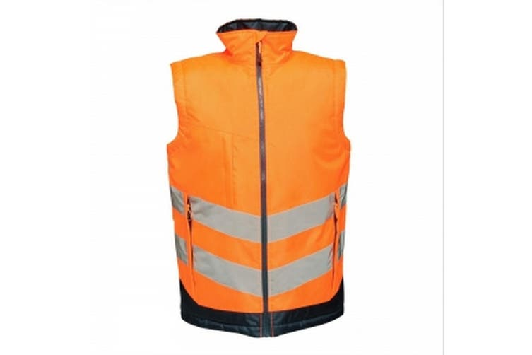 Regatta Professional Mens Hi Vis Pro Body Warmer (Orange/Navy) (S)