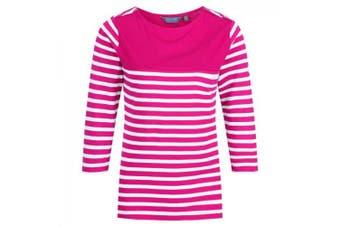 Regatta Womens/Ladies Pandara Long Sleeve Stripe T-Shirt (Dark Cerise) - UTRG4116