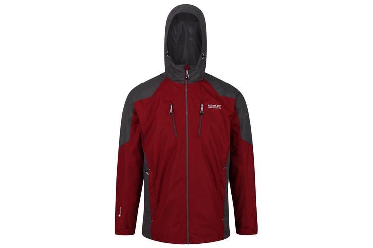 Regatta Mens Calderdale III Waterproof Jacket With Concealed Hood (Delhi Red/Magnet Grey) (S)