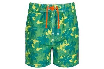 Regatta Kids Skander II Quick Drying Swim Shorts (Lime/Camo)