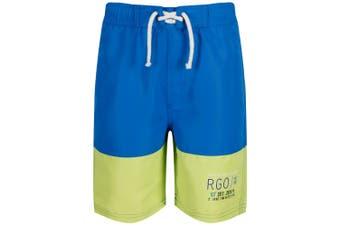 Regatta Childrens/Boys Shaul II Swim Shorts (Oxford Blue/Lime Punch)