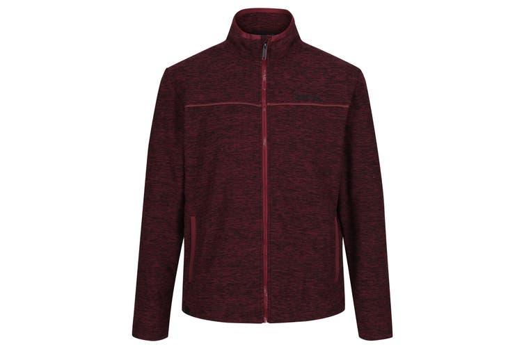 Regatta Mens Earvin Full Zip Broken Stripe Fleece (Burgundy/Black) (XXL)