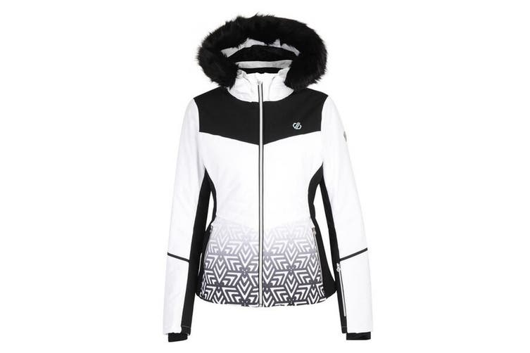 Dare 2b Womens Iceglaze Faux Fur Trim Luxe Ski Jacket (White) (18 UK)