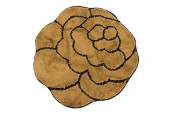 Non-Slip Striped Flower Shaped Area Mat/Rug (3 Colours) (Brown) - UTRUG108