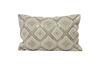 Riva Home Kenitra Beaded Cushion Cover (Silver) (35 x 50cm)