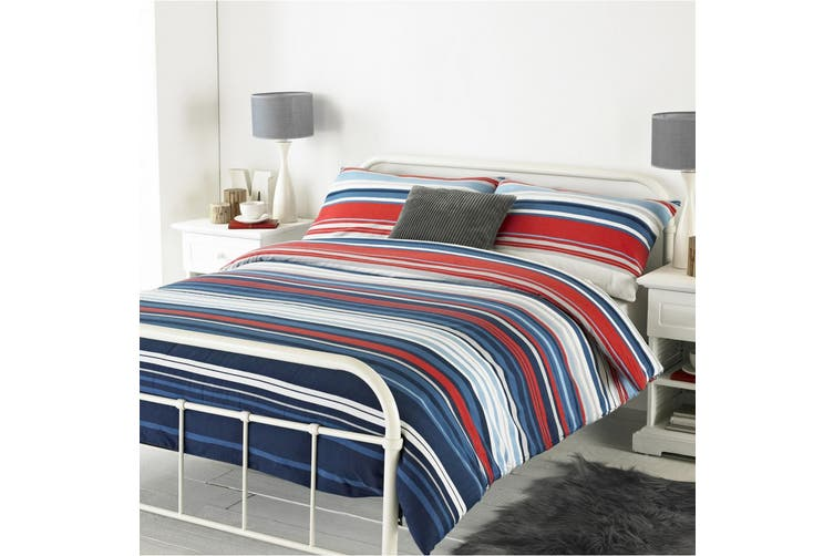 Riva Home Lymington Duvet Set (Blue/Red) (Super King)