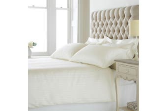Riva Home Eton Satin Stripe Duvet Cover Set (200 Thread Count) (Cream) (Super King)