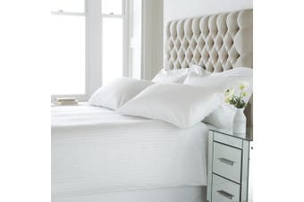 Riva Home Eton Satin Stripe Duvet Cover Set (200 Thread Count) (White) (Super King)