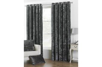 Riva Home Verona Velvet Style Eyelet Curtains (Pewter) (90 x 90in (229 x 229cm))