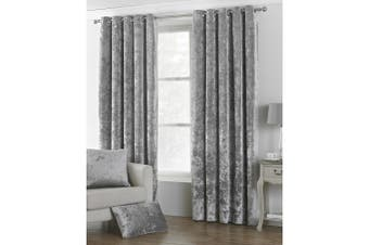 Riva Home Verona Velvet Style Eyelet Curtains (Silver) (90 x 90in (229 x 229cm))
