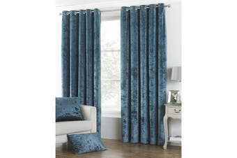 Riva Home Verona Velvet Style Eyelet Curtains (Teal) (66 x 72in (168 x 183cm))