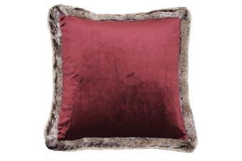 Riva Home Kiruna Faux Fur Edged Velvet Style Square Cushion Cover (Cranberry) (45 x 45cm)