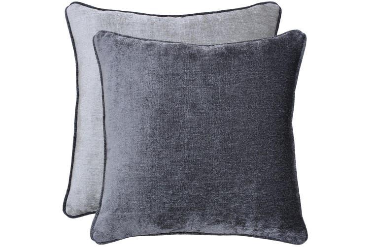 Riva Home Mottram Velvet Style Square Cushion Cover (Charcoal/Silver) (45 x 45cm)