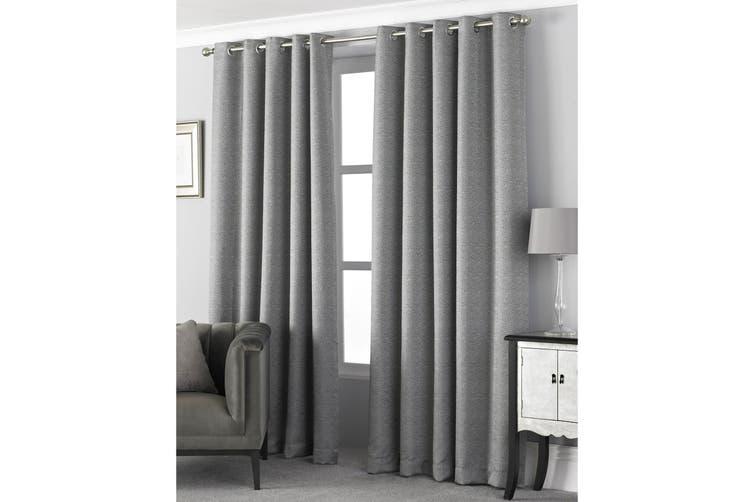 Riva Home Pendleton Ringtop Eyelet Curtains (Graphite) (117 x 183cm)