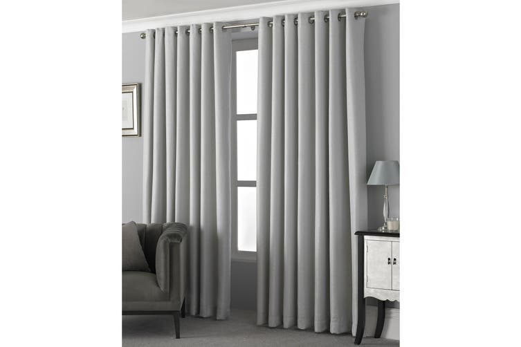 Riva Home Pendleton Ringtop Eyelet Curtains (Silver) (168 x 229cm)